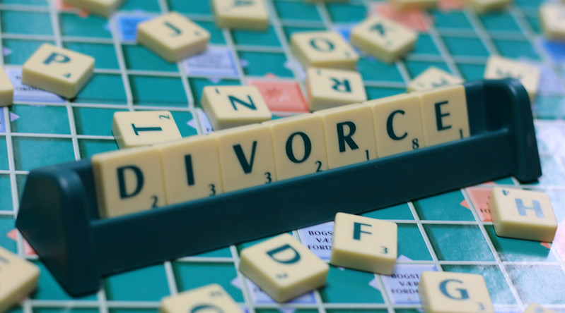 divorce text in scrabble